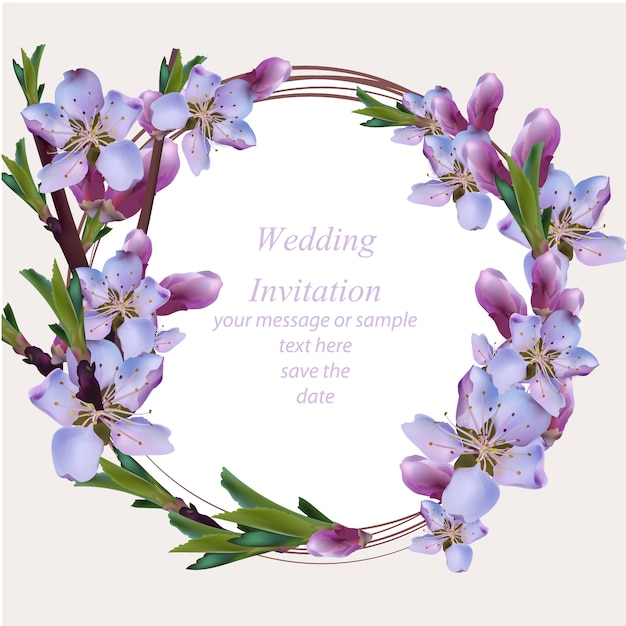 Wedding Card With Purple Floral Wreath Vector