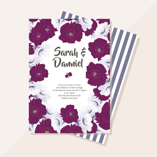 Wedding card with purple flowers Free Vector
