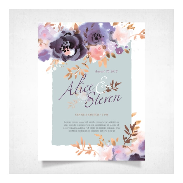 Wedding card with purple flowers Premium Vector