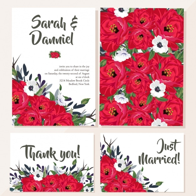 Wedding card with red flowers Free Vector