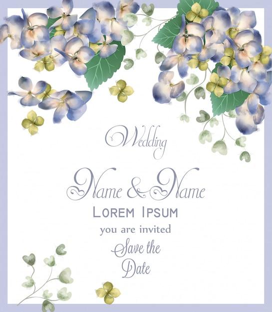 Wedding card with spring hydrangea flowers watercolor Premium Vector