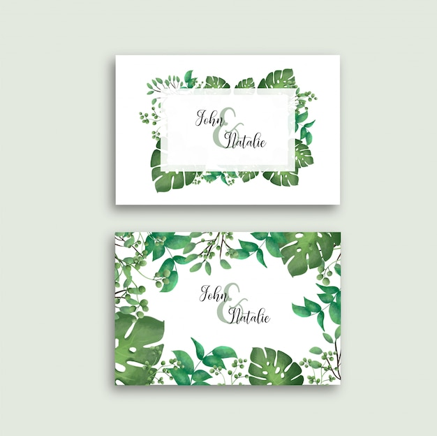 Wedding card with tropical leaves template Free Vector