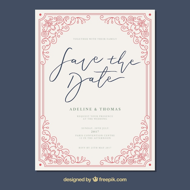 Wedding card with vintage frame Free Vector