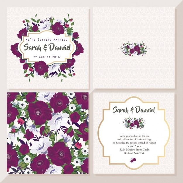 Wedding card with violet flowers Free Vector