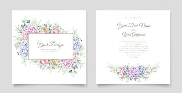 Wedding card with watercolor hydrangea flowers Free Vector