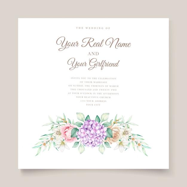 Partecipazione di nozze con i fiori dell'acquerello dell'ortensia Vettore gratuito