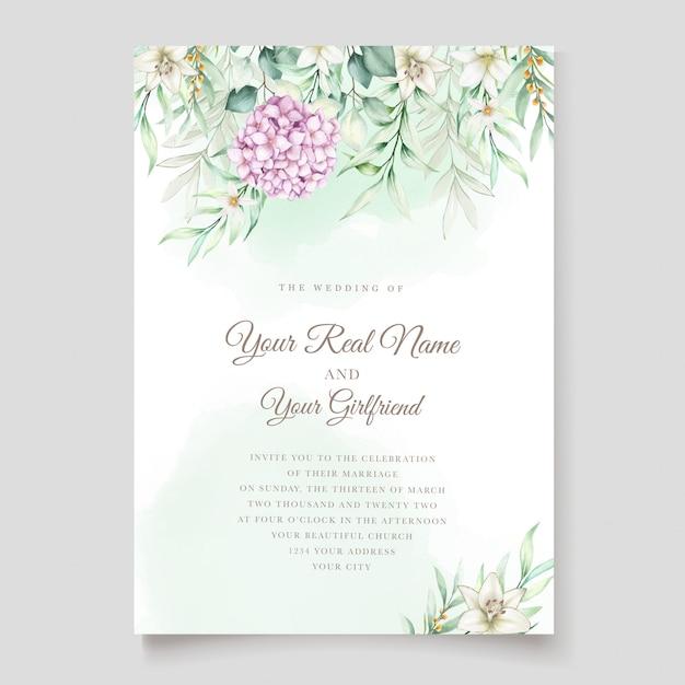 水彩のアジサイの花のウェディングカード 無料ベクター