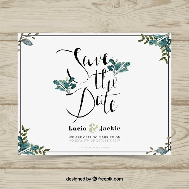 Wedding card with watercolor leaves Vector Free Download