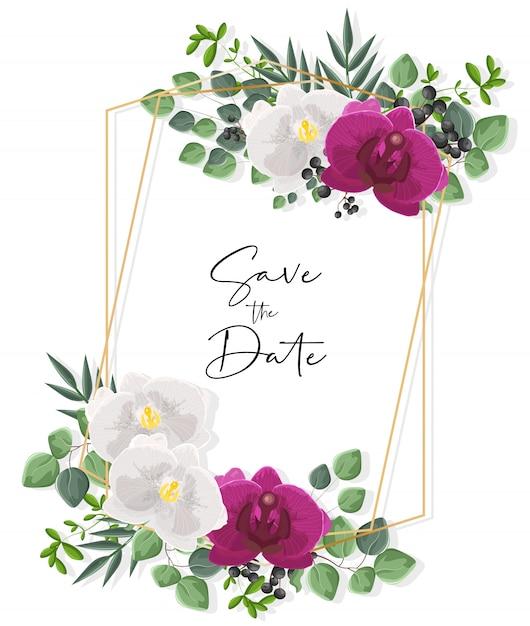 흰색과 보라색 난초 꽃으로 웨딩 카드입니다. 녹색 나뭇잎 장식 프리미엄 벡터
