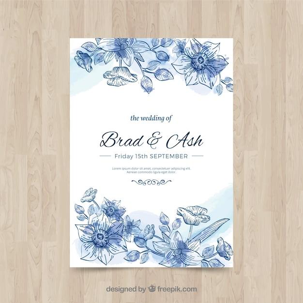 Wedding card Free Vector