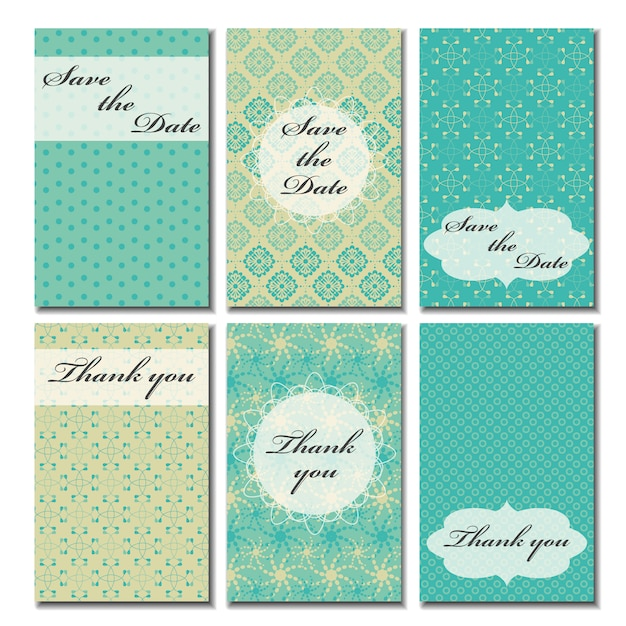 Wedding cards collection Free Vector