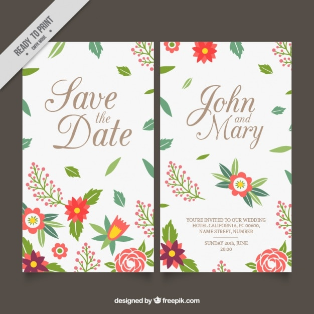 Wedding cards with details of leaves and flowers vector free download wedding cards with details of leaves and flowers free vector stopboris Images