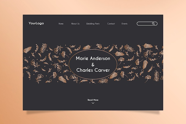 Wedding celebration landing page with hand drawn golden floral elements Free Vector