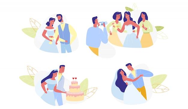 Wedding ceremony set isolated Premium Vector