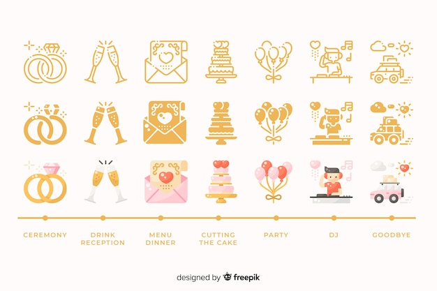 Wedding collection with cute illustrations Free Vector