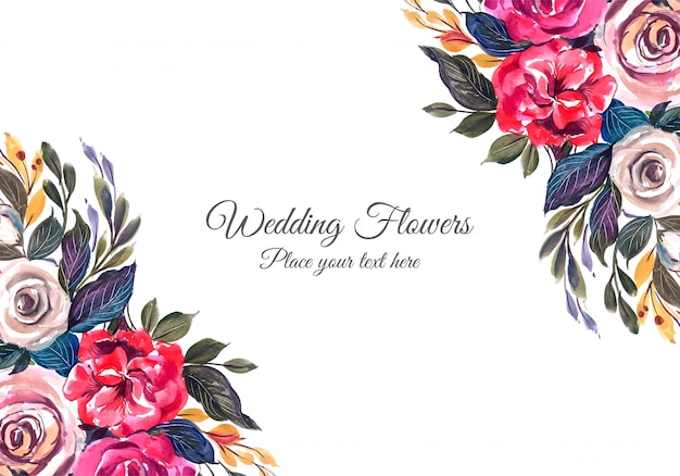 Wedding colorful flowers frame Free Vector