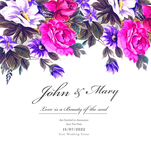 Wedding colorful flowers with invite invitation card template Free Vector