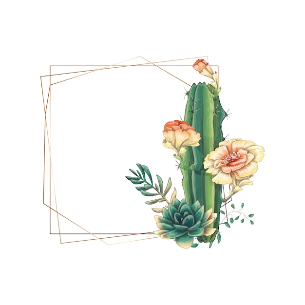 Wedding colorful frame with succulent and cacti. Premium Vector