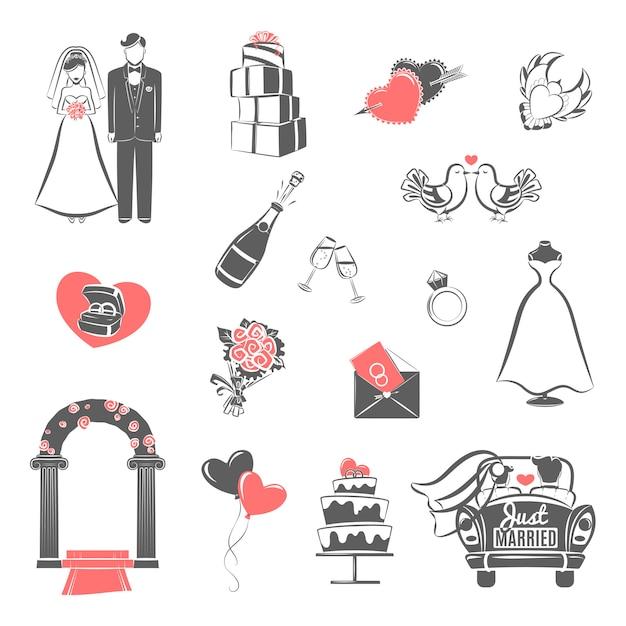 Icone rosse del nero di concetto di nozze messe Vettore gratuito