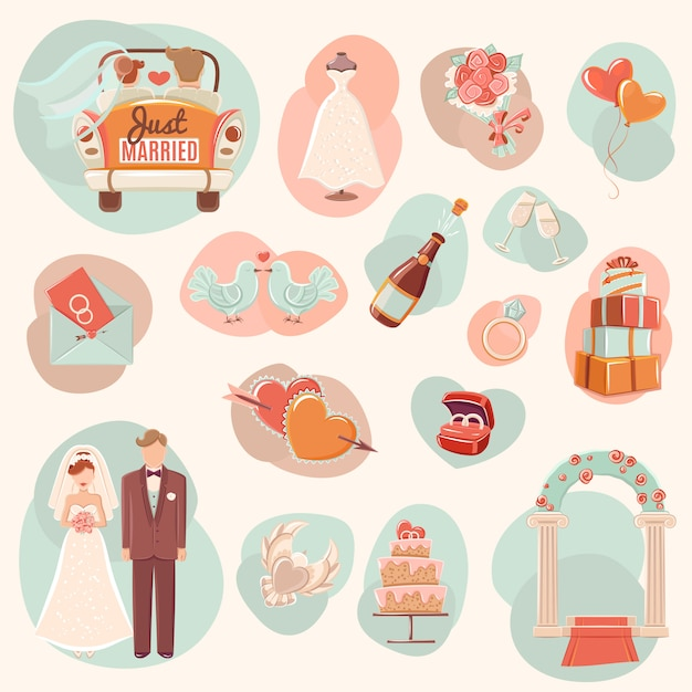 Wedding concept flat icons set Free Vector