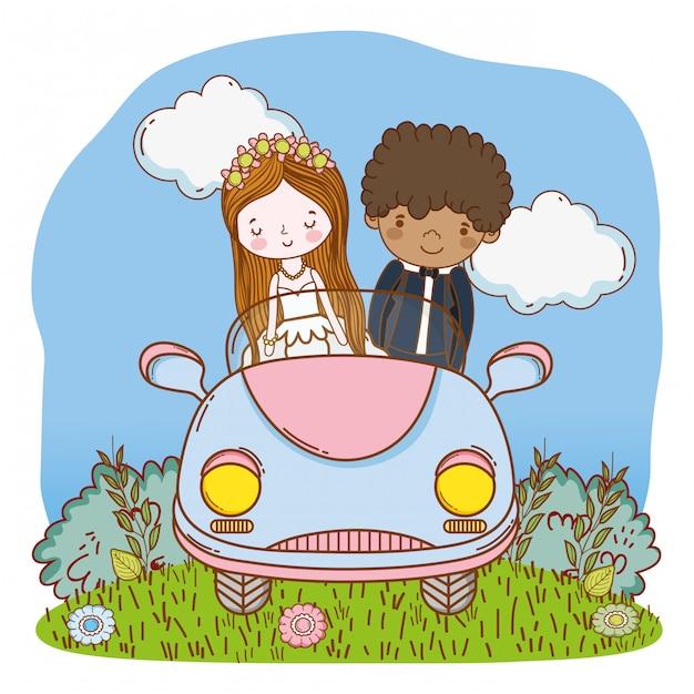 Wedding couple on car cute cartoon Premium Vector