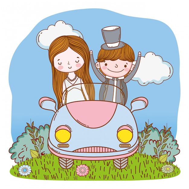 Wedding couple on car cute cartoon Premium Vector