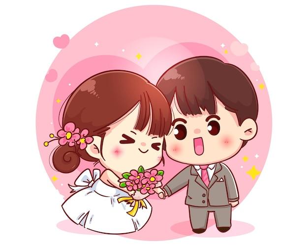 Wedding couple cartoon character illustration Premium Vector