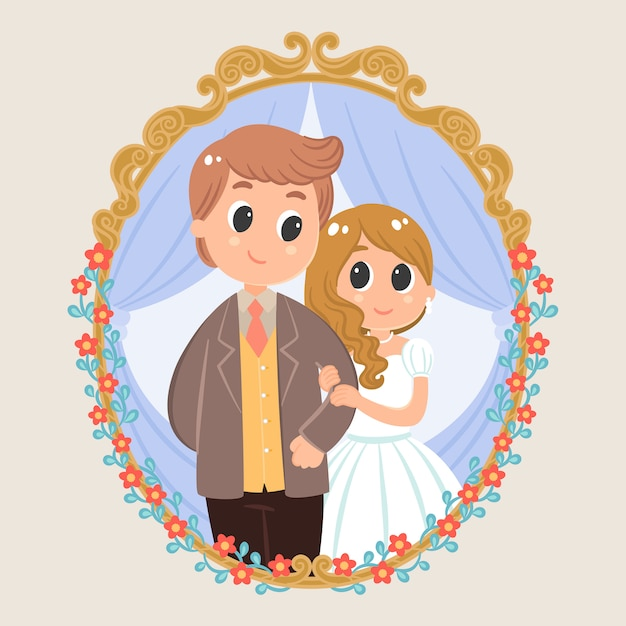 Wedding Couple Cartoon Character With Florals Vintage