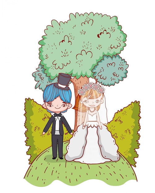 Wedding couple cartoons Premium Vector