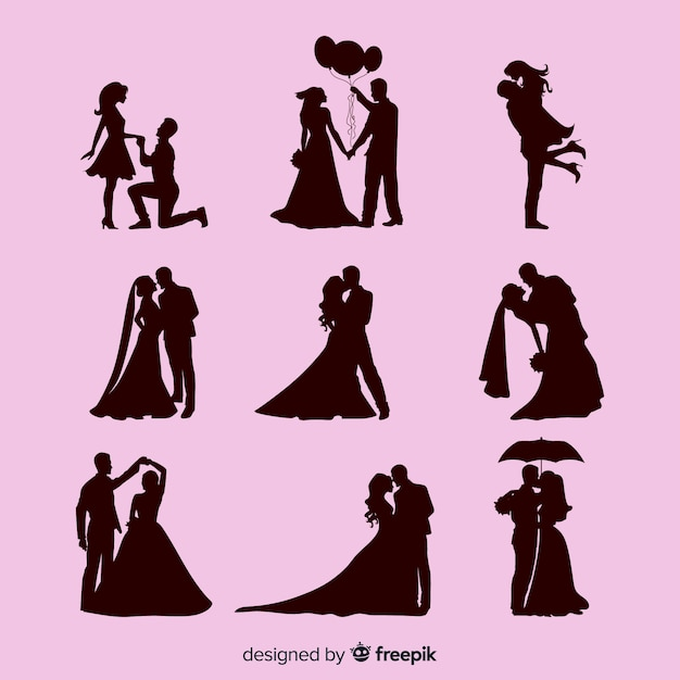 Wedding couple character collection Premium Vector