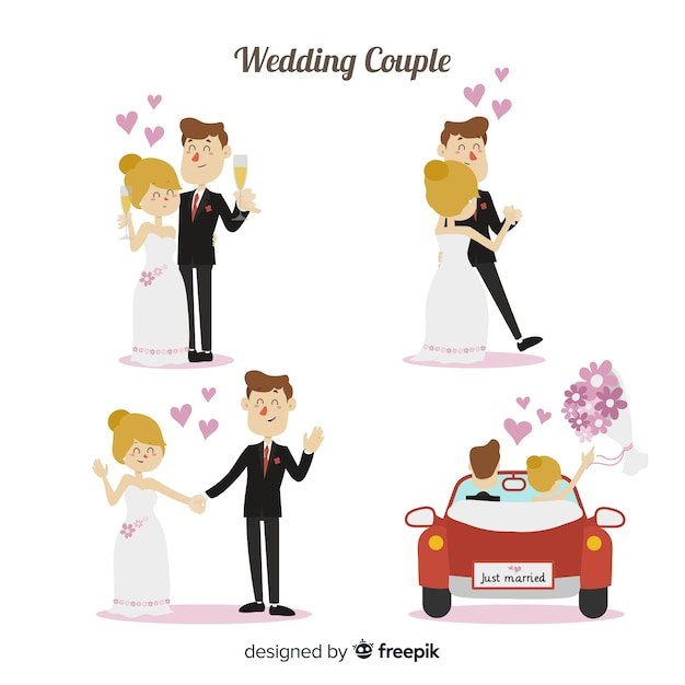Wedding couple character collection Free Vector