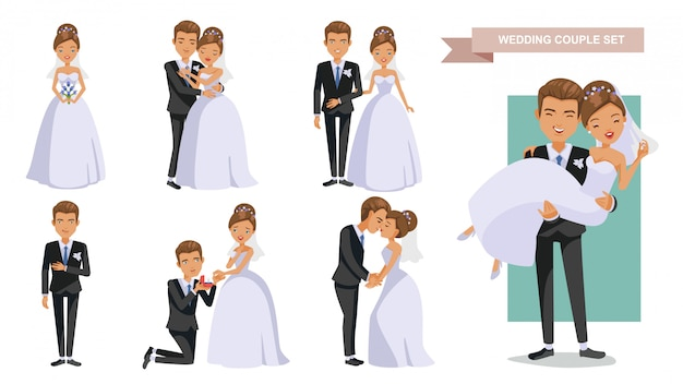 Wedding couple characters posture set.   in love. valentine's day. Premium Vector