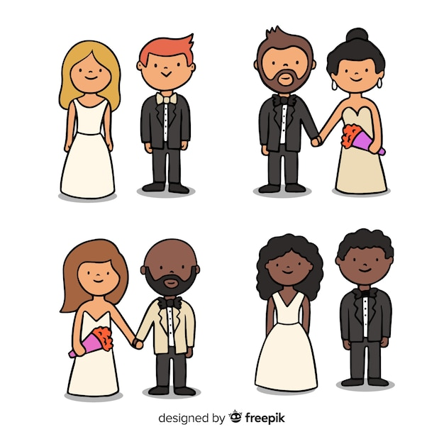 Wedding couple collection Free Vector