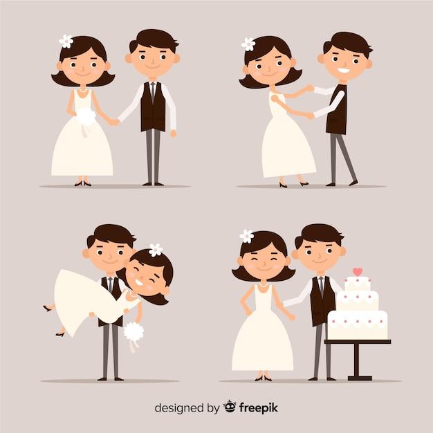 Wedding couple collection Free Vector