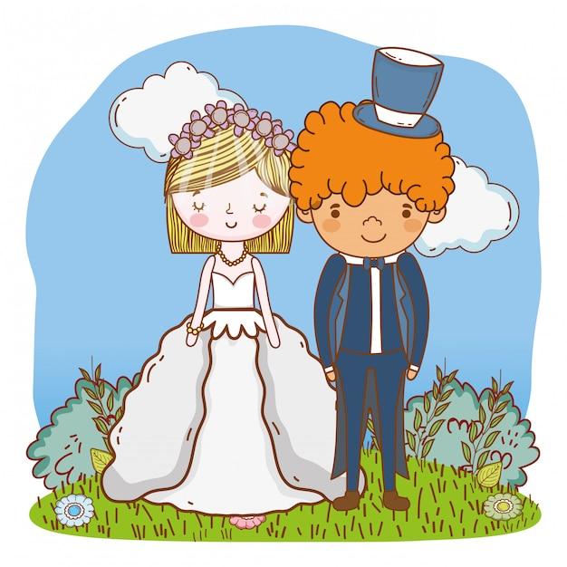 Wedding couple cute cartoon Premium Vector