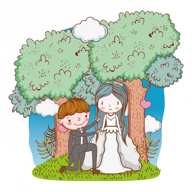 Wedding couple cute cartoon Premium Vector