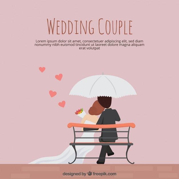 Wedding couple in flat design Free Vector