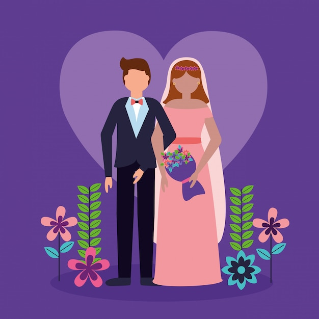 Wedding couple in flat style Free Vector