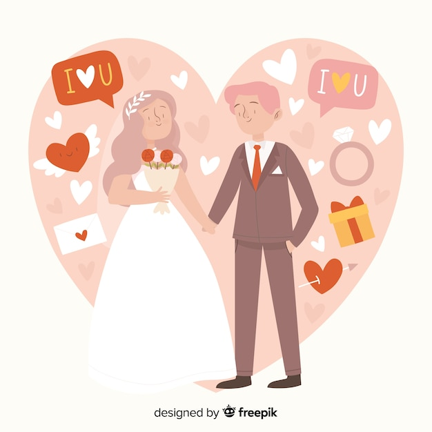 Wedding couple hand drawn style Free Vector
