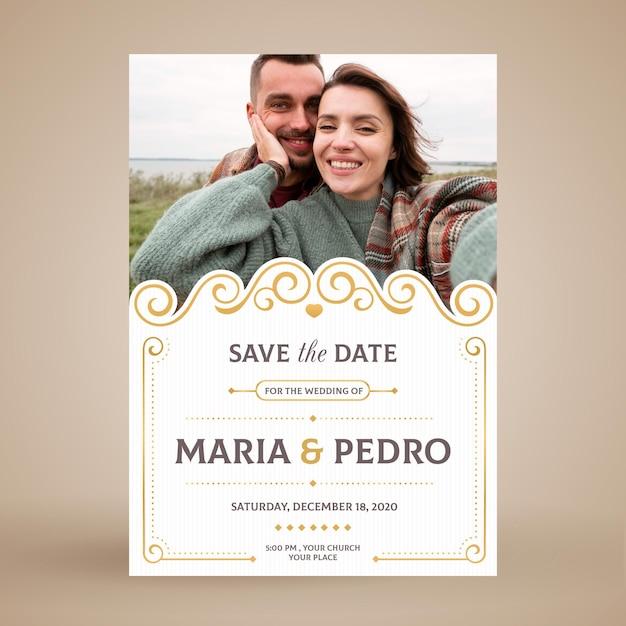 웨딩 커플 초대 카드 프리미엄 벡터