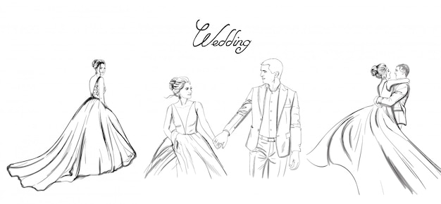 Wedding couple lineset. bride silhouette vintage style. beautiful long dress. Premium Vector