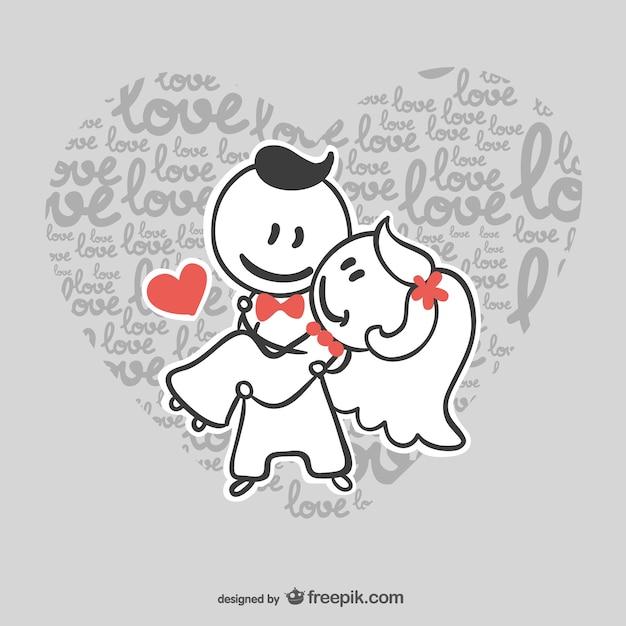 Wedding couple in love Free Vector