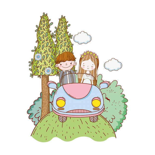 Wedding couple marriage cute cartoon Premium Vector