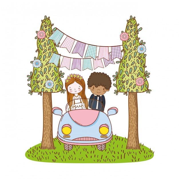 Wedding couple marriage cute cartoon Premium Vector