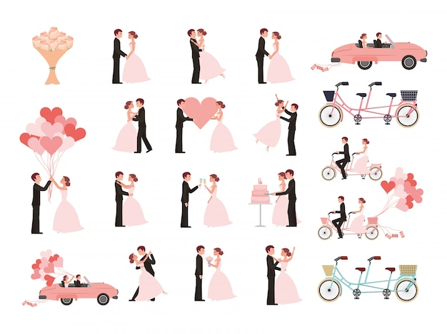 Wedding couple and married icons Free Vector