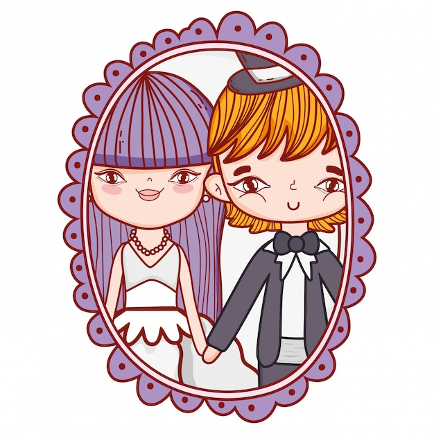 Wedding couple photo drawings Premium Vector