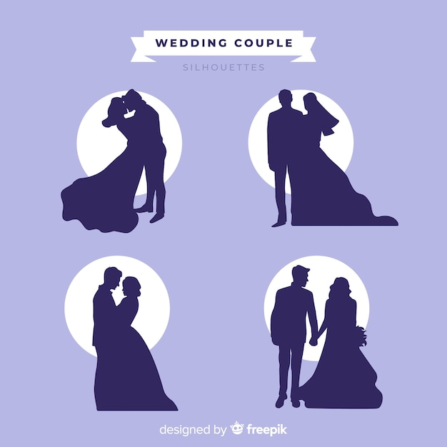 Wedding couple silhouette collection Free Vector