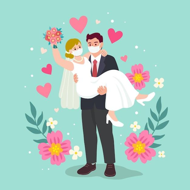 フェイスマスクを身に着けている結婚式のカップル 無料ベクター