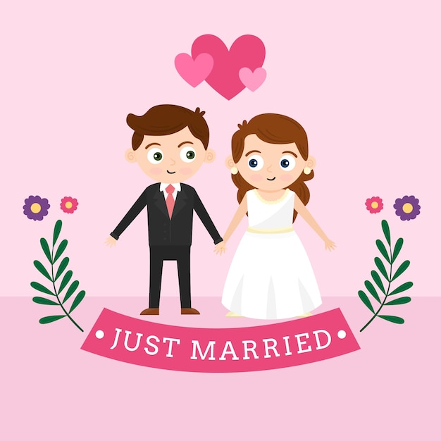 Wedding couple with bride and groom Free Vector