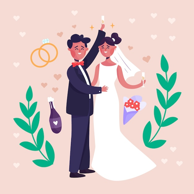 Wedding couple with rings and leaves Free Vector